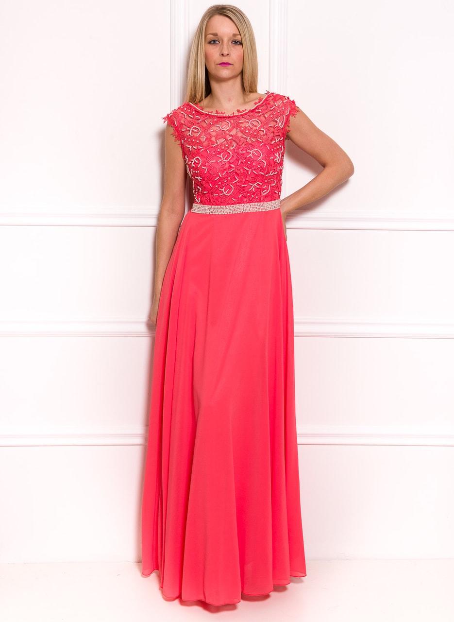 d09fd9a29f Společenské luxusní dlouhé šaty s krajkou a perličkami - tmavě lososová