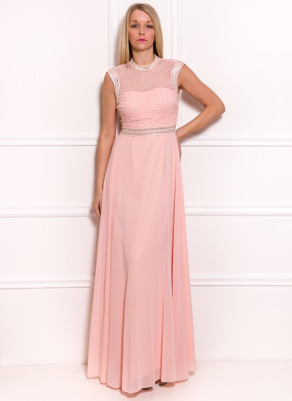 45b664d5c6c6 Glamadise.sk - Spoločenské luxusné dlhé šaty s perličkami - svetlo ...