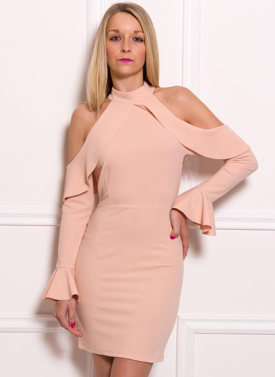 7638e6fdb8a0 Dámské luxusní šaty s průstřihy na ramenou - růžová - Due Linee ...