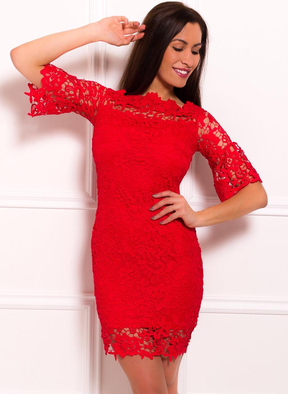 dd09318e51d1 Dámské šaty z krajky a rukávem - červená - Due Linee - Promoce a ...