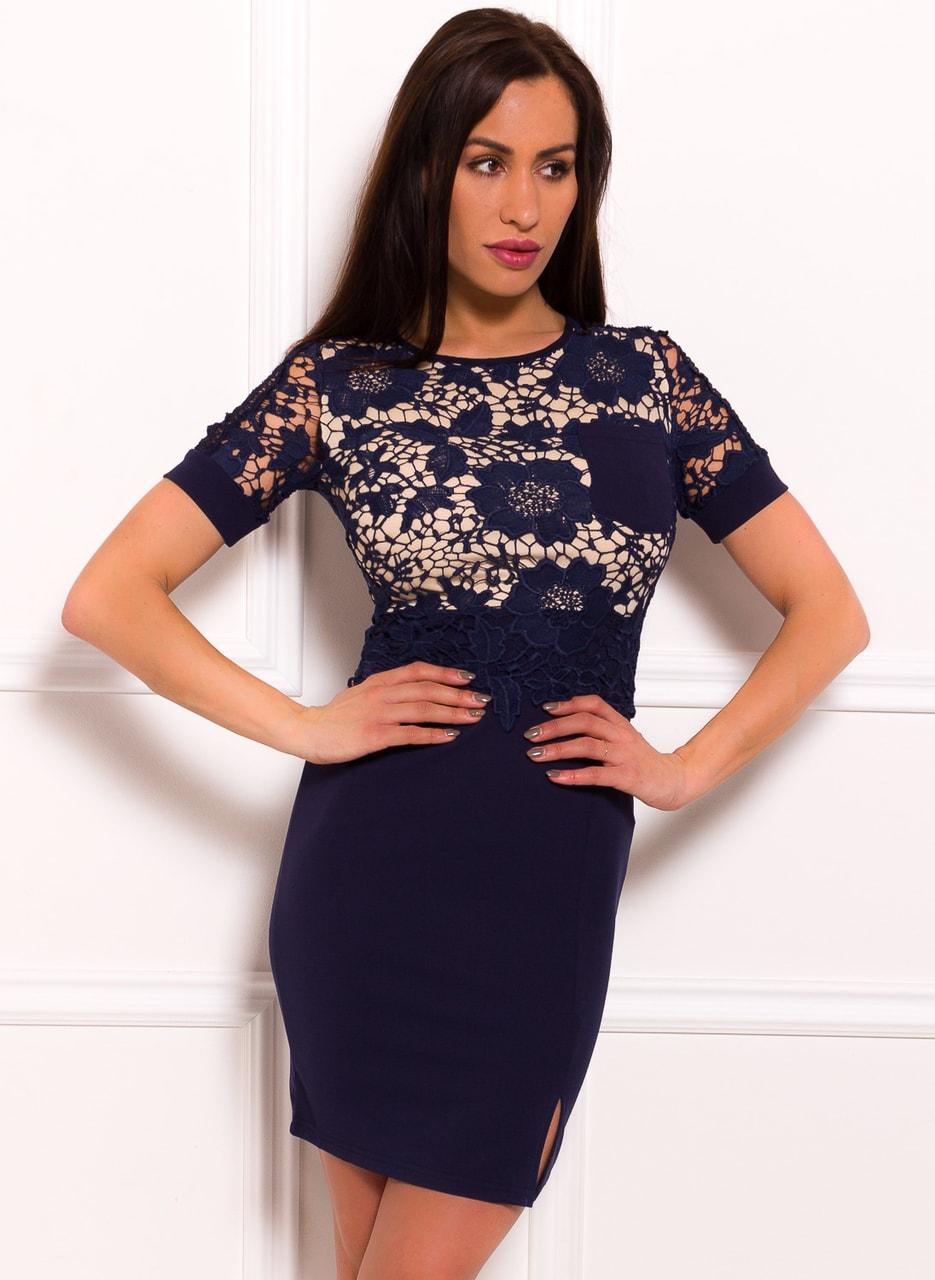 a70ed49bacb4 Glamadise.sk - Dámské šaty s rukávkem a krajkou modro - béžová - Due ...