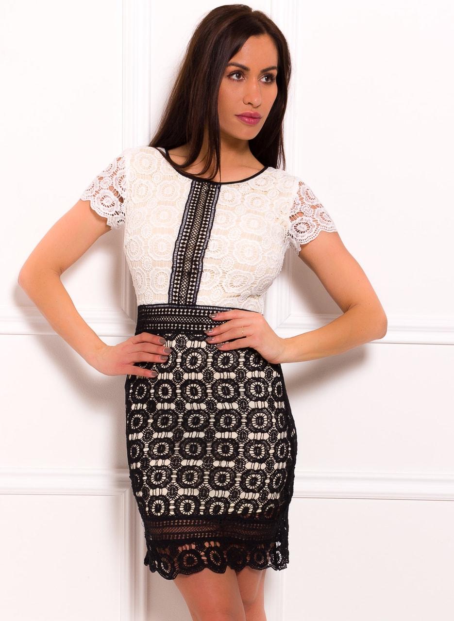 f448f32bb612 Dámské šaty se vzorem krajky bílo - černé - Due Linee - Každodenní ...