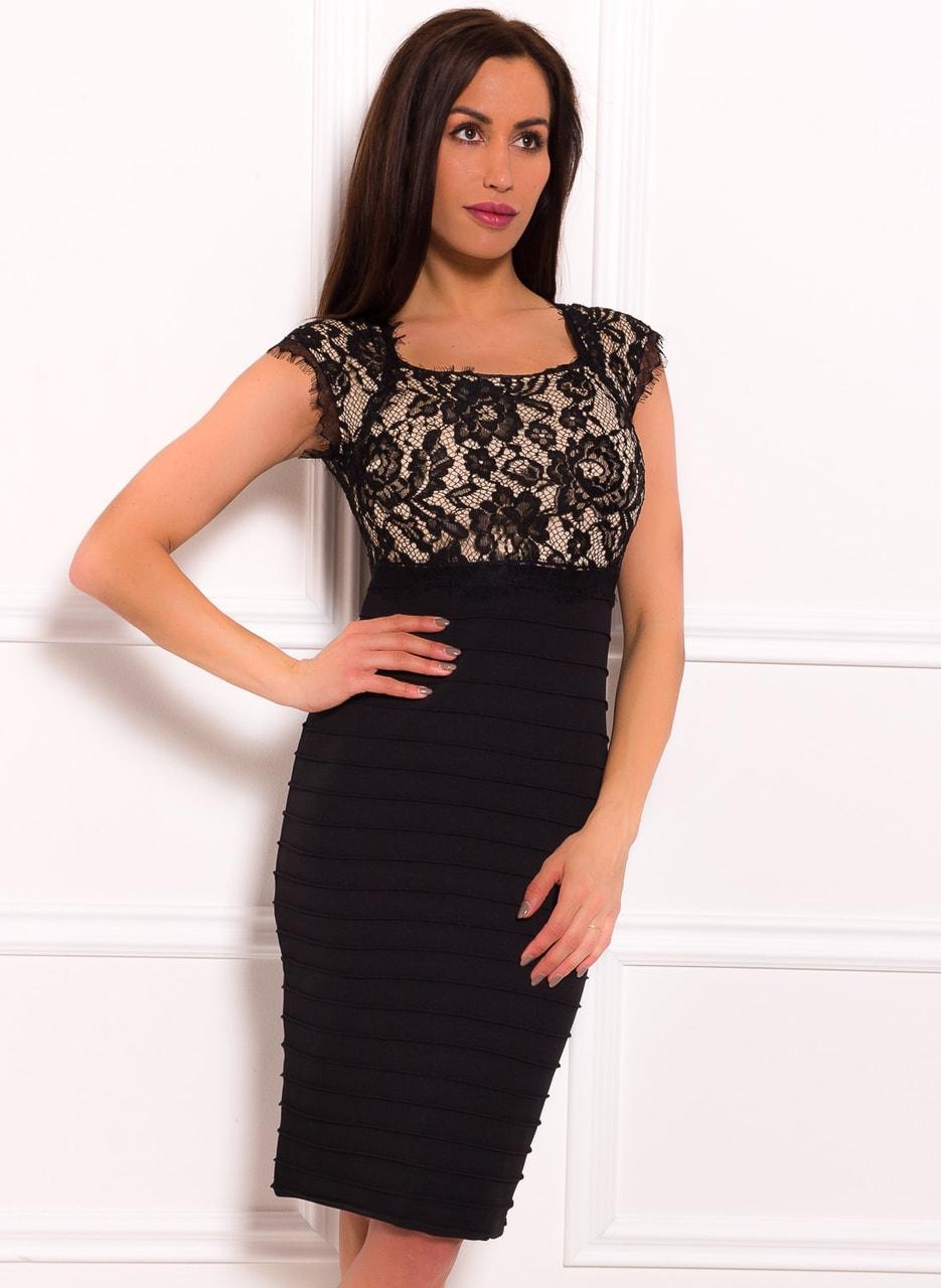 a0c5f32462cb Dámské šaty s krajkou elastické černo - béžové - Due Linee ...