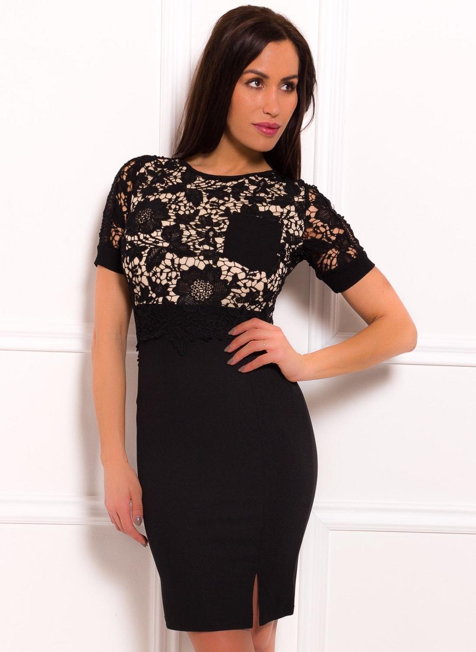 84c6a47e202c Glamadise.sk - Dámské šaty s rukávkem a krajkou černo - béžová - Due ...