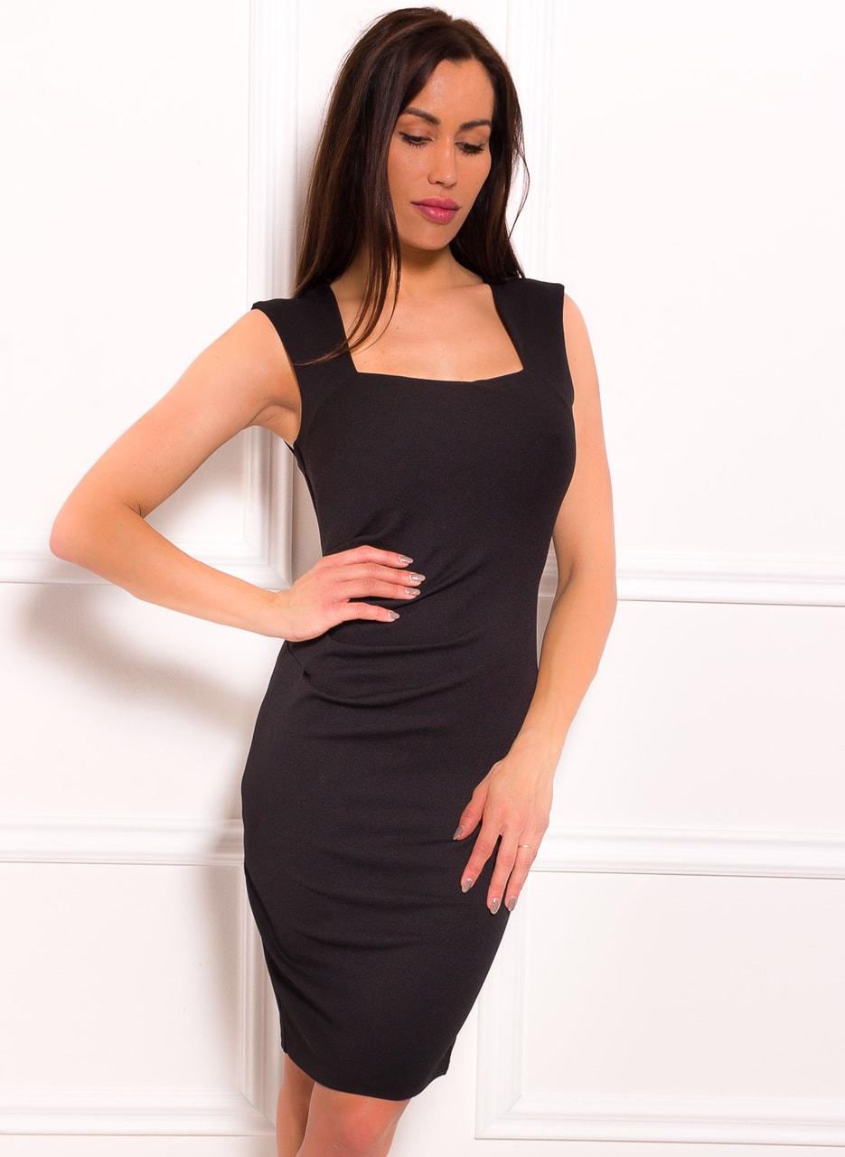 9c4da8963037 Glamadise.sk - Dámske elegantné šaty s výkrojom na chrbte - čierna ...
