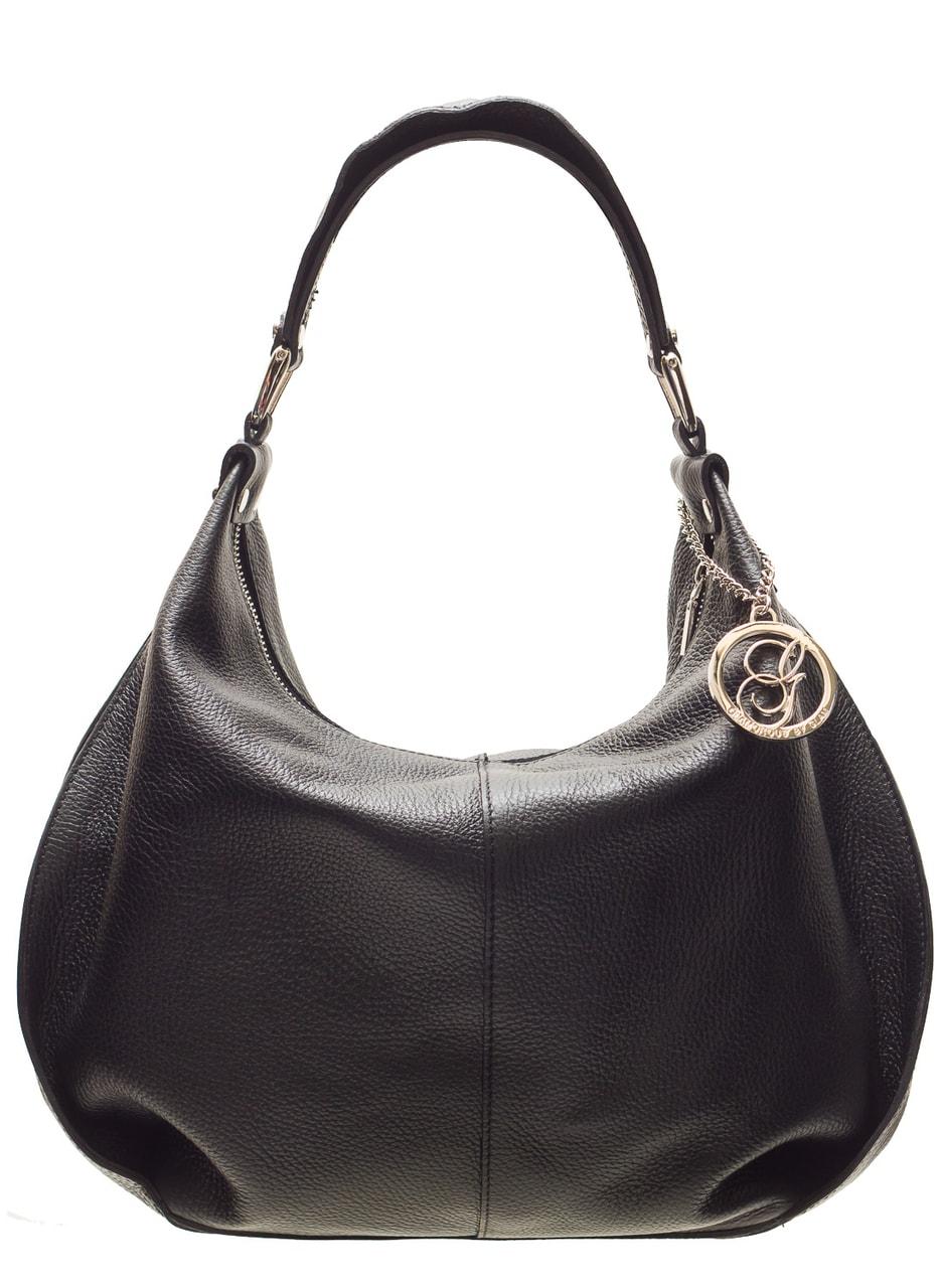 0a4e27bb68f9a Dámská kožená kabelka přes rameno poutko s volánem - černá ...