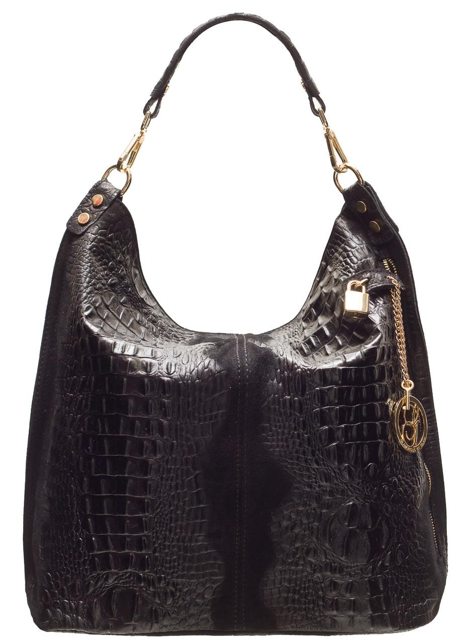 f158e27a5b Glamadise.sk - Dámska kožená kabelka cez rameno krokodíl - čierna ...