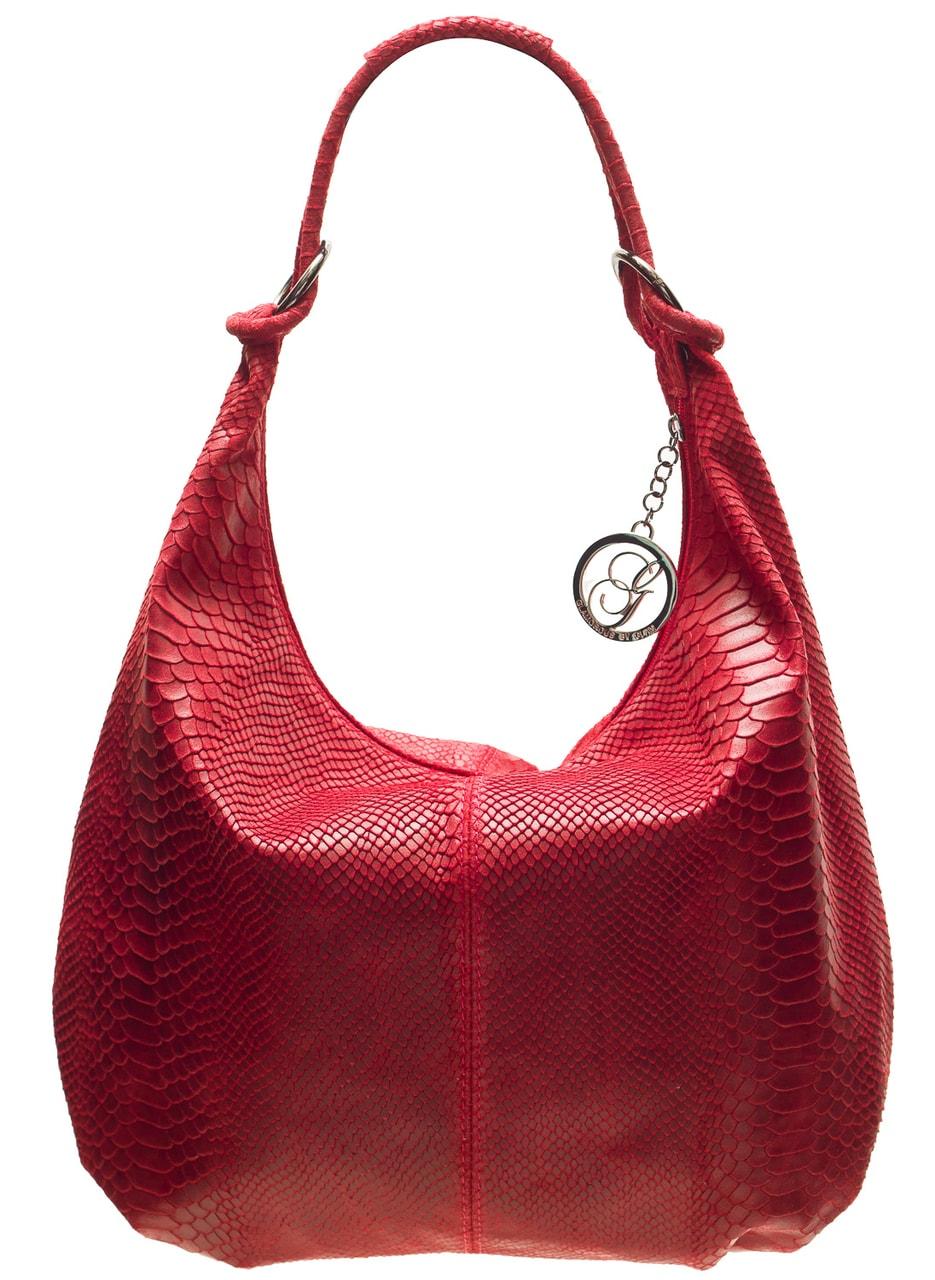 19b7009b17 Glamadise.sk - Dámska kožená kabelka s kruzky had - vínová ...