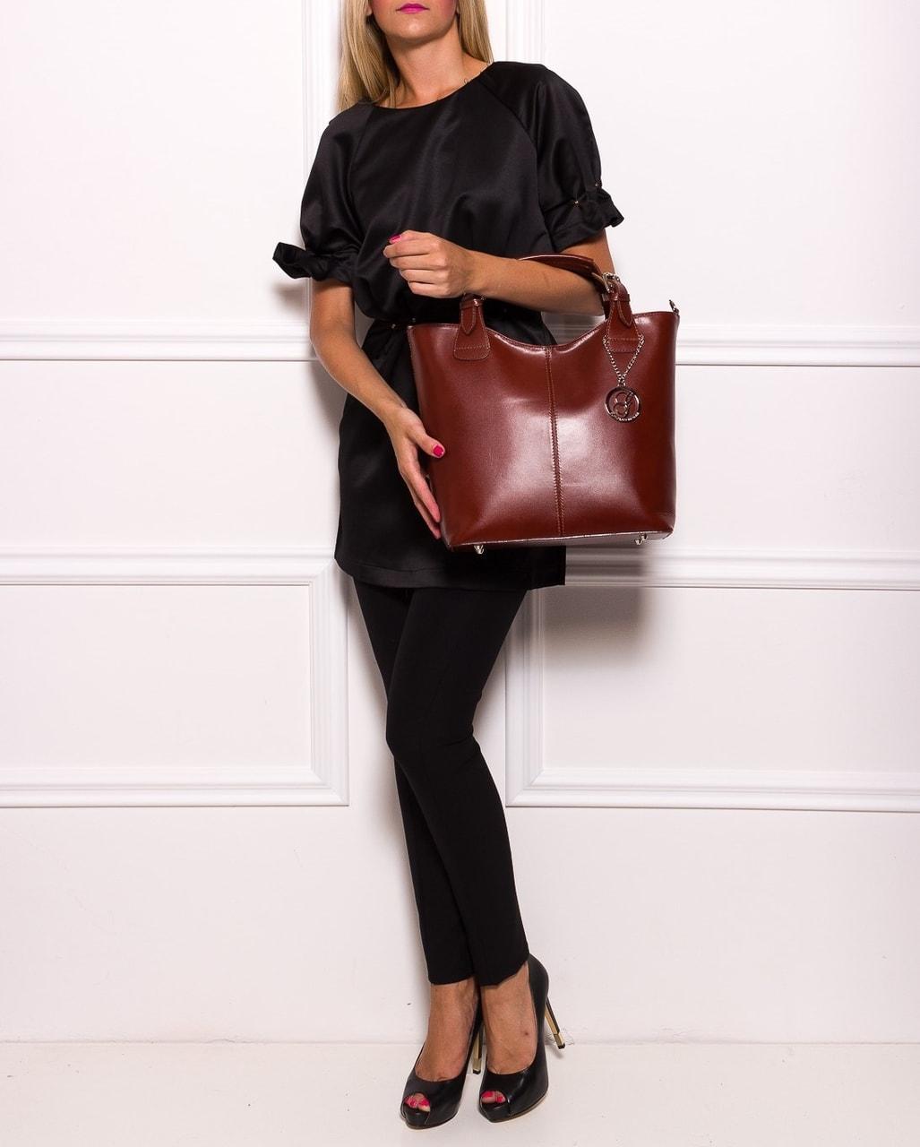 688bb4fd72 Dámská kožená kabelka do ruky - hnědá - Glamorous by GLAM - Do ruky ...