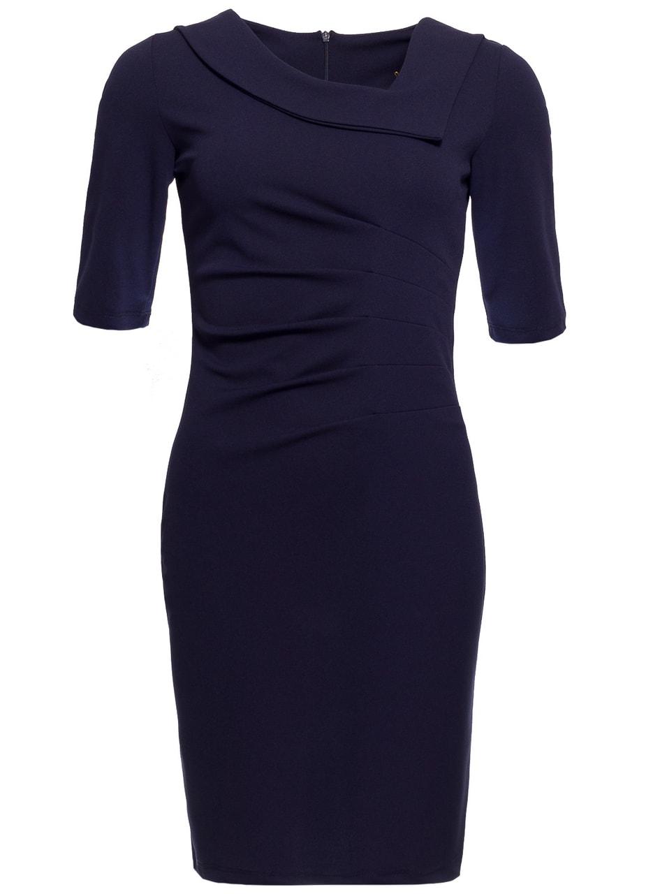 2873e37b61d7 Glamadise.sk - Dámske puzdrové šaty s rukávom a riasením - modrá ...