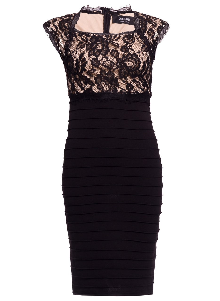 6126e855a660 Glamadise.sk - Dámské šaty s krajkou elastické černo - béžové - Due ...