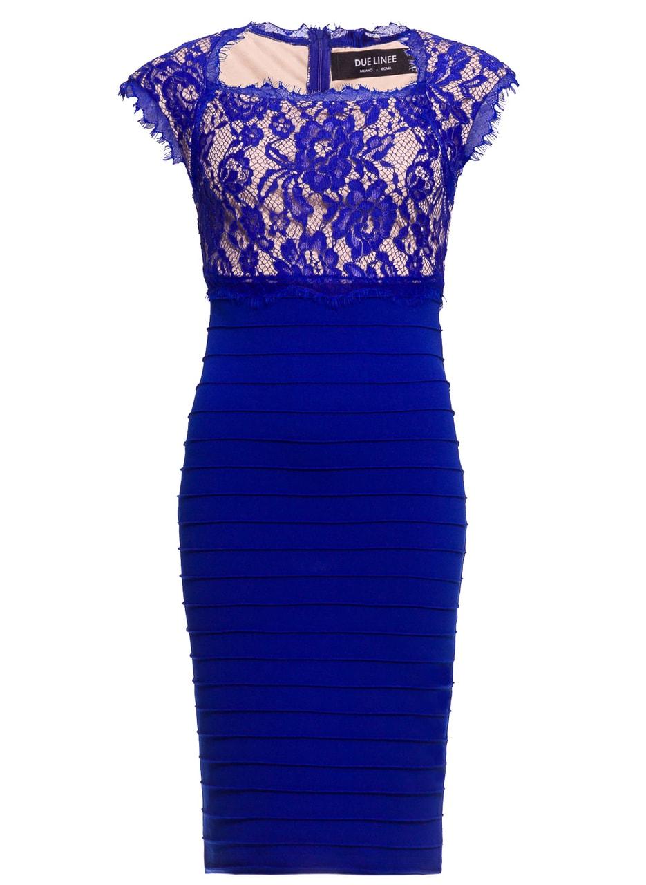 c24c0c075131 Dámské šaty s krajkou elastické královsky modro - béžové - Due Linee ...
