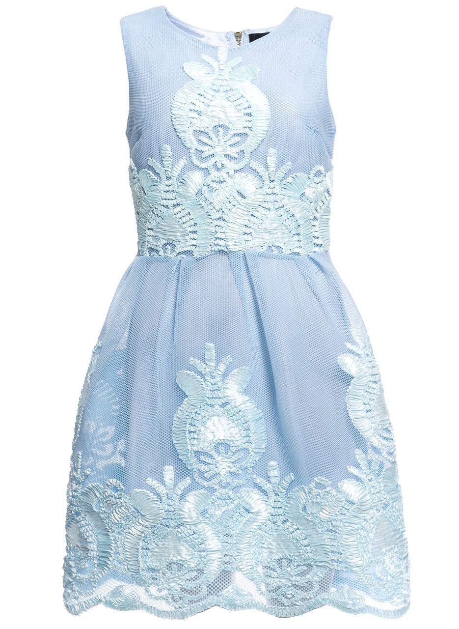 b69eb0532813dc Glamadise.pl - Damska koronkowa sukienka Due Linee - niebieski - Due ...