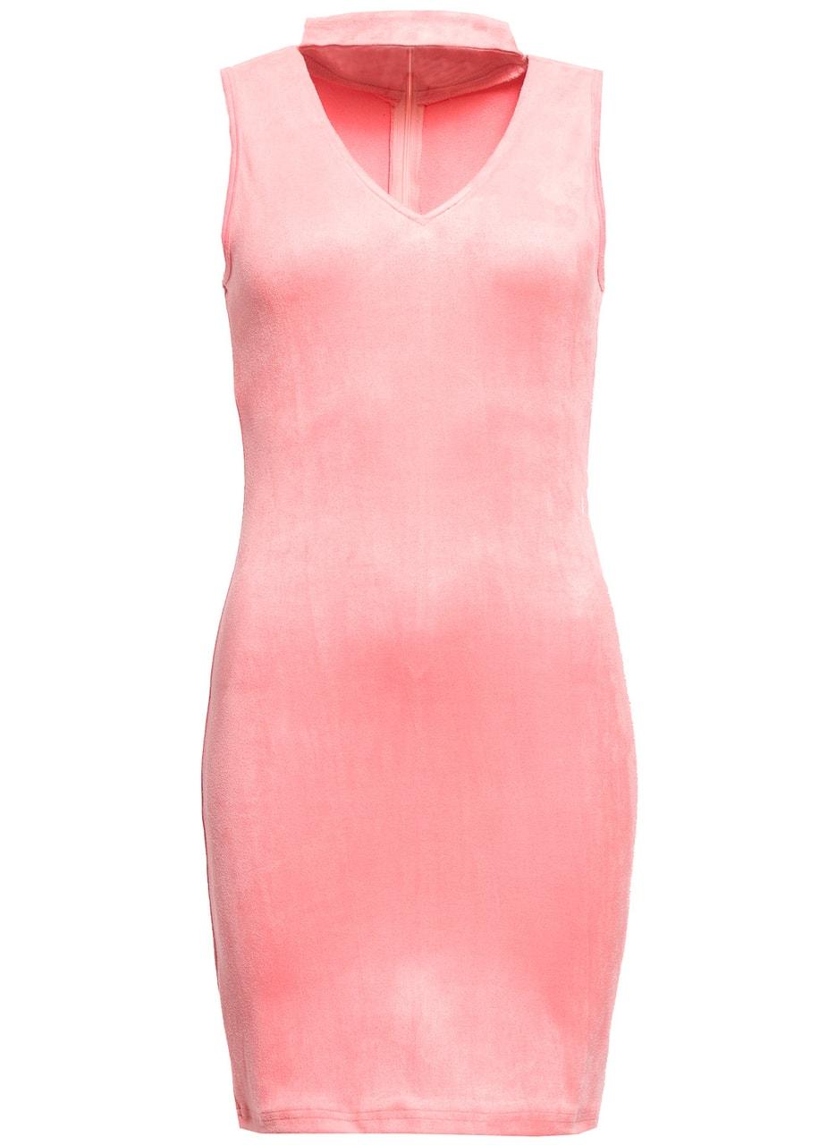 4ed968f0ad Glamadise.sk - Dámské semišové šaty - světle růžová - Due Linee ...