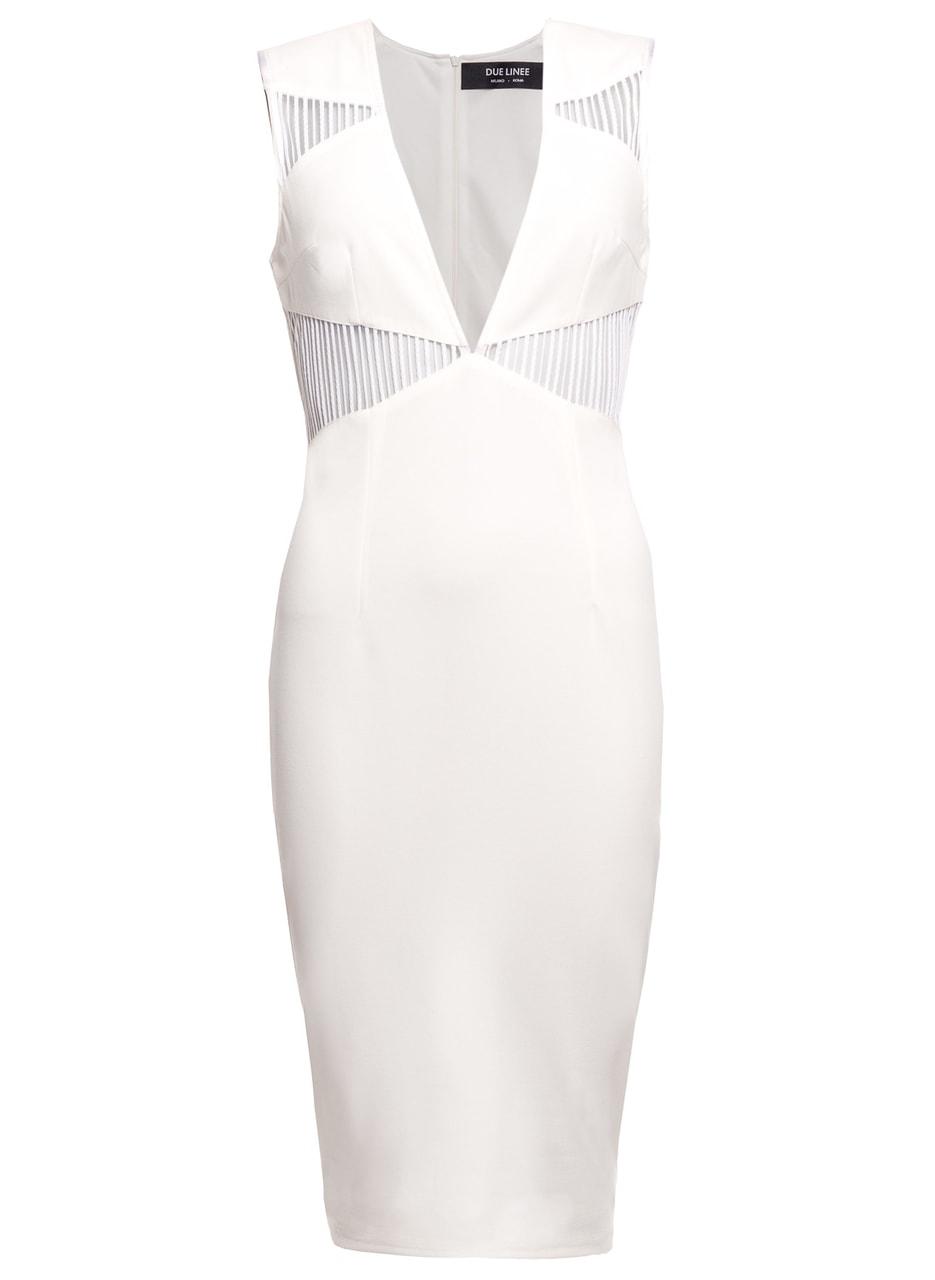 6bd35f7172d2 Dámské elegantní šaty s průstřihy - bílá - Due Linee - Poslední kusy ...