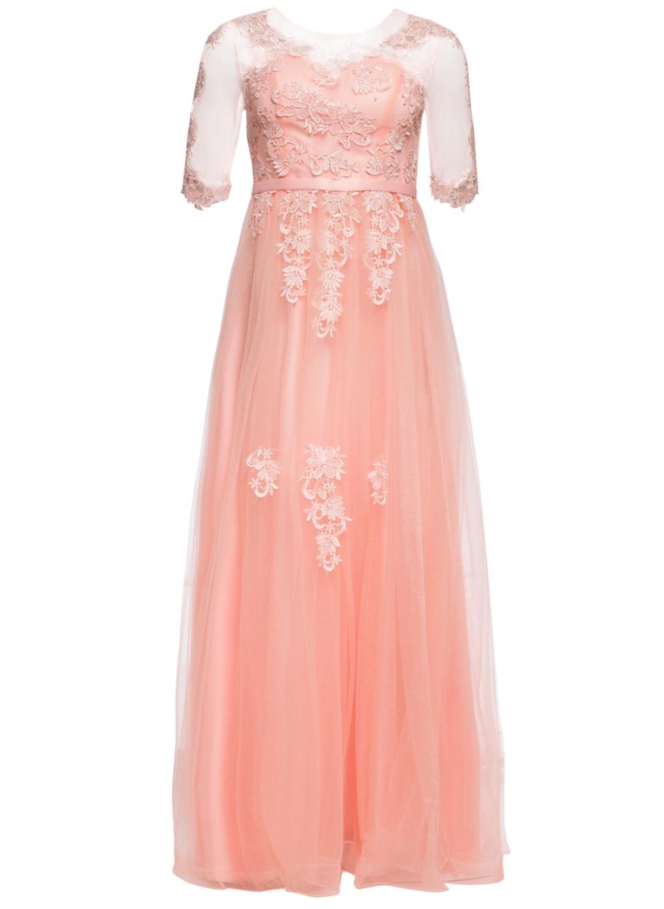 ca39738a3407 Glamadise.sk - Spoločenské luxusné dlhé šaty s rukávom - svetlo ...