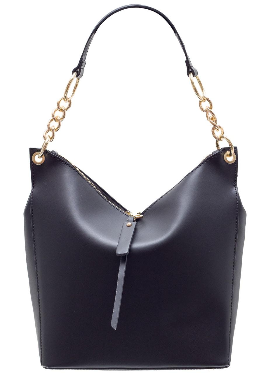 f6a7aa8d7 Glamadise.sk - Dámska kožená kabelka s Retiazka cez rameno - čierna ...