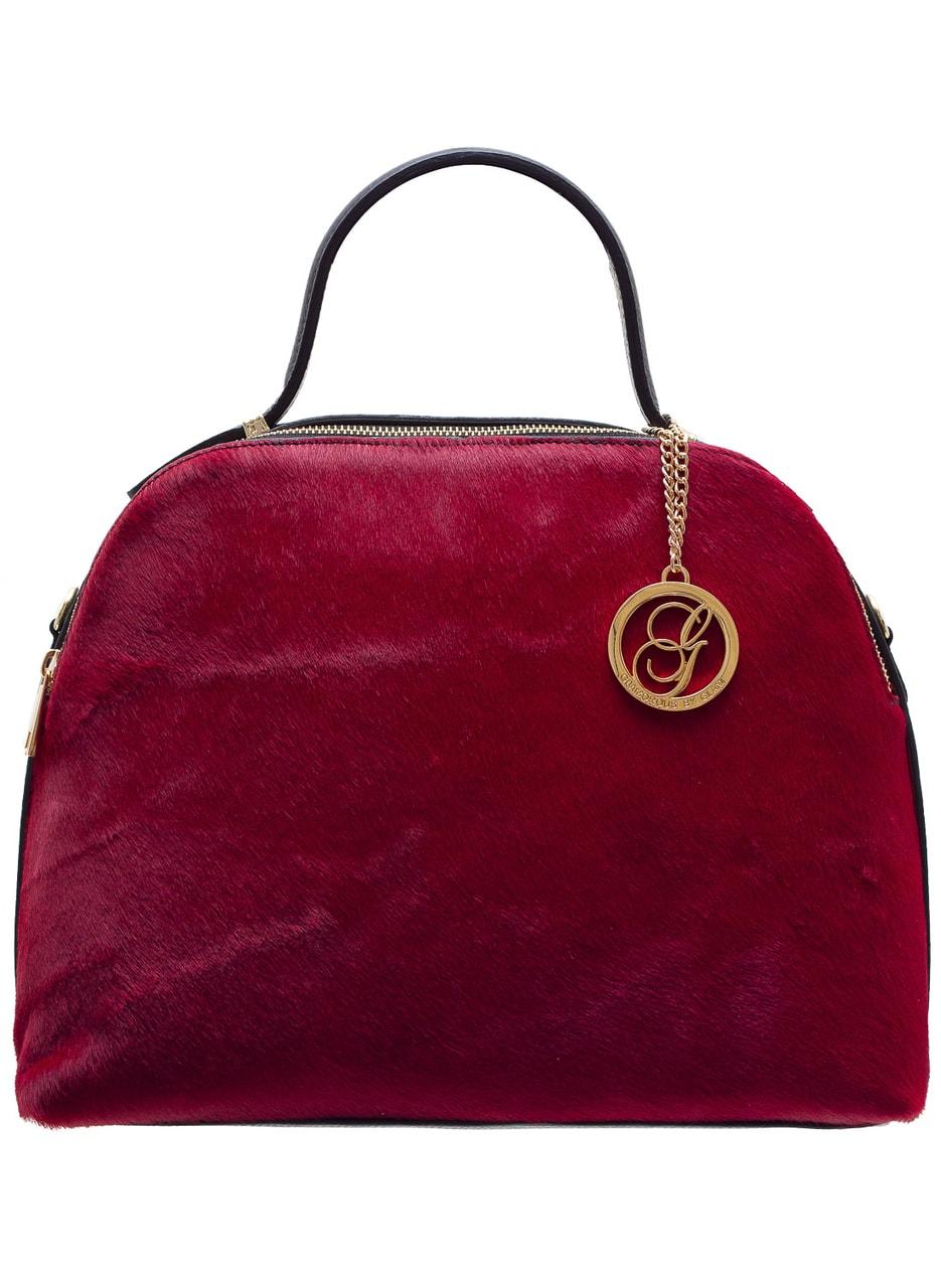 d5971f267d Glamadise.sk - Dámska kožená kabelka So srsti 2 zipsy - červená ...