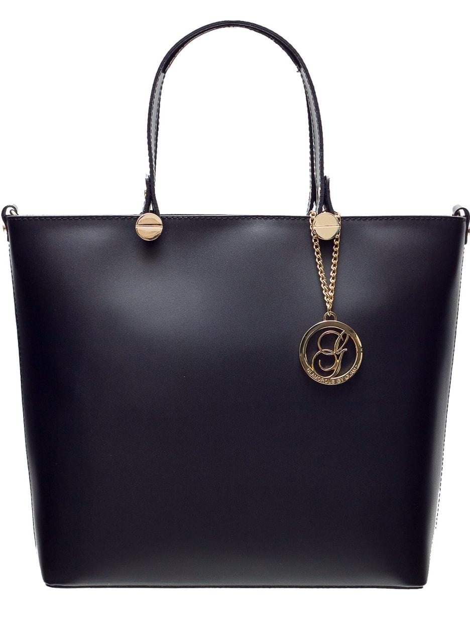706ad90974 Glamadise.sk - Kožená kabelka do ruky so zlatým kovaním - čierna ...