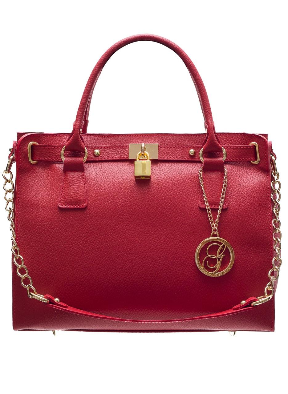 af7a78a280 Glamadise.sk - Dámska kožená kabelka so zámkom a Retiazka - červená ...