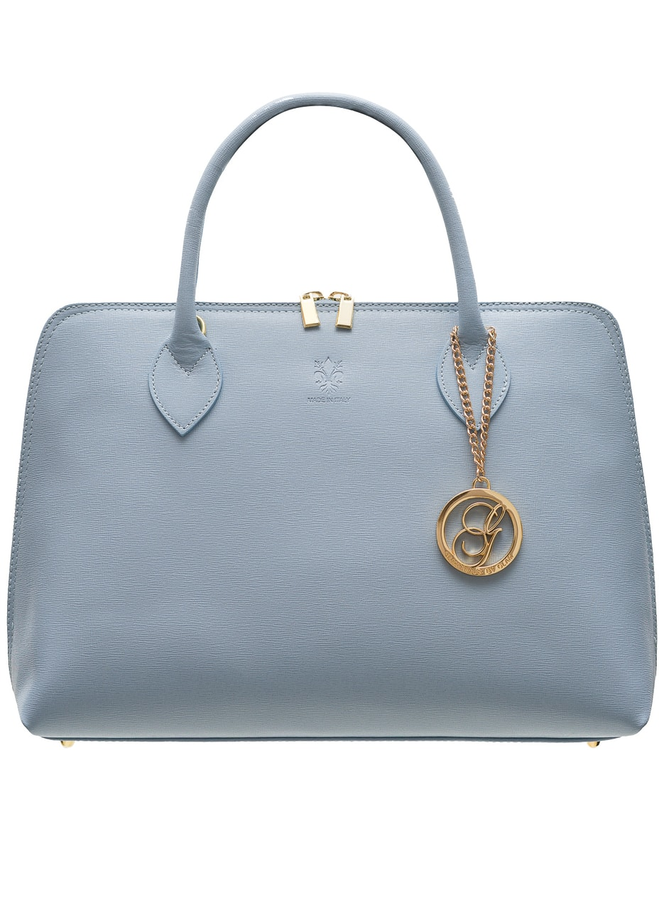 a626f445d Dámská kožená kabelka ze safiánové kůže - světle modrá - Glamorous ...