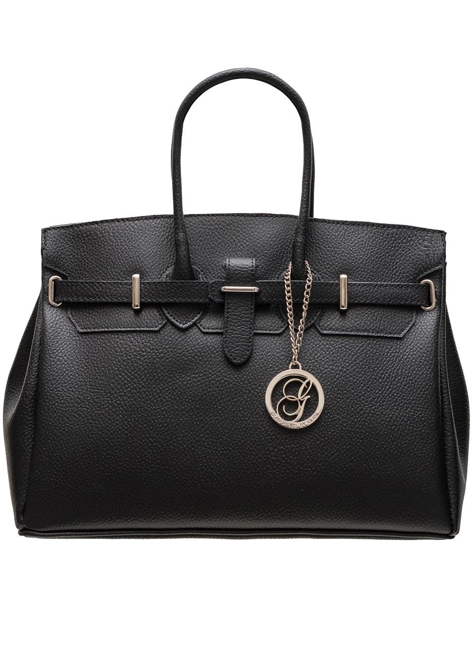 b41de9b3e7 Dámská kožená kabelka se stříbrným kováním - černá - Glamorous by ...