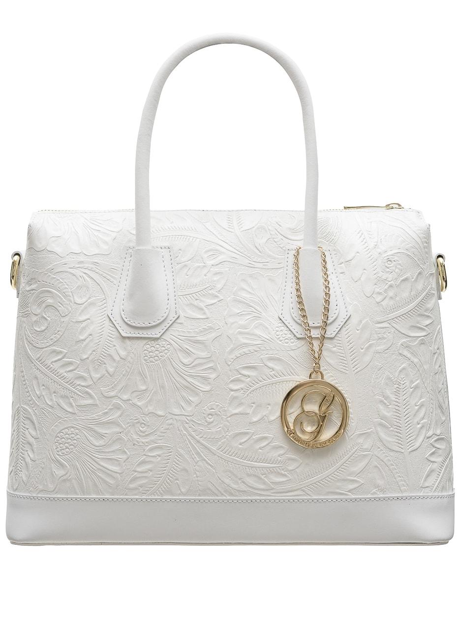 e445b1b6438e5 Glamadise.sk - Dámska kožená kabelka s kvetmi do ruky - biela ...