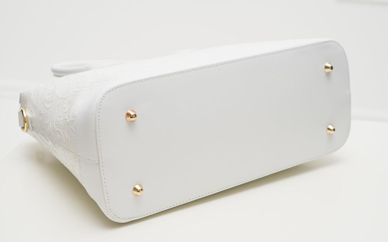 9c9216d02f Glamadise.sk - Dámska kožená kabelka s kvetmi do ruky - biela ...
