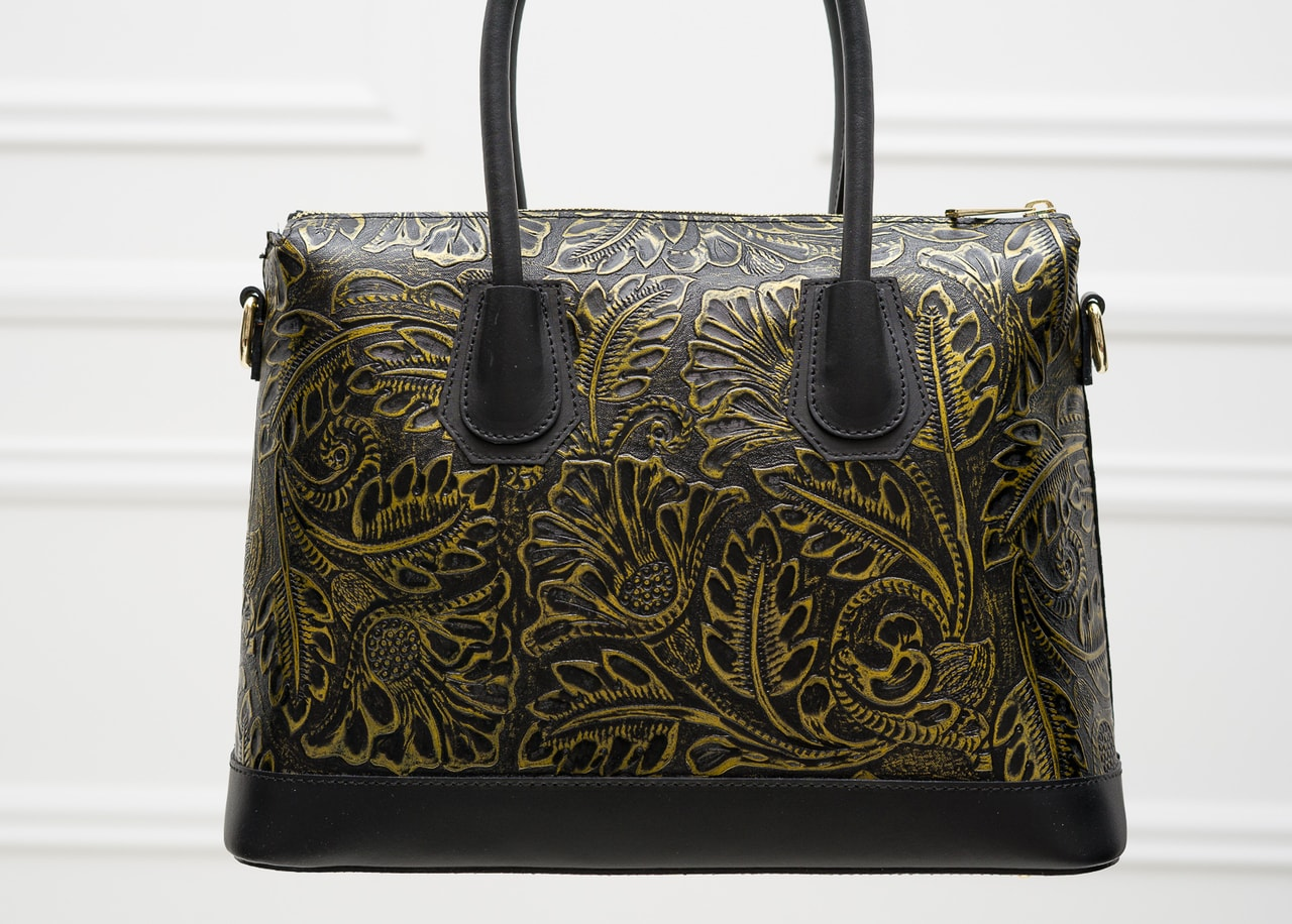 c92a619d99 Glamadise.sk - Dámska kožená kabelka s kvetmi do ruky čierno - zlatá ...