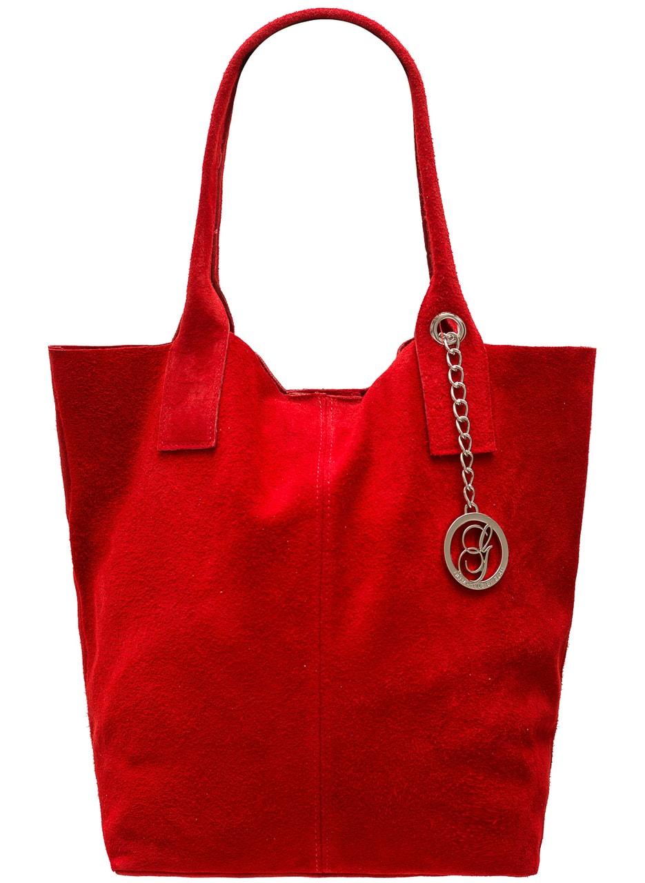 b2ba9b3d8f Glamadise.sk - Dámska kožená kabelka shopper semiš - červená ...