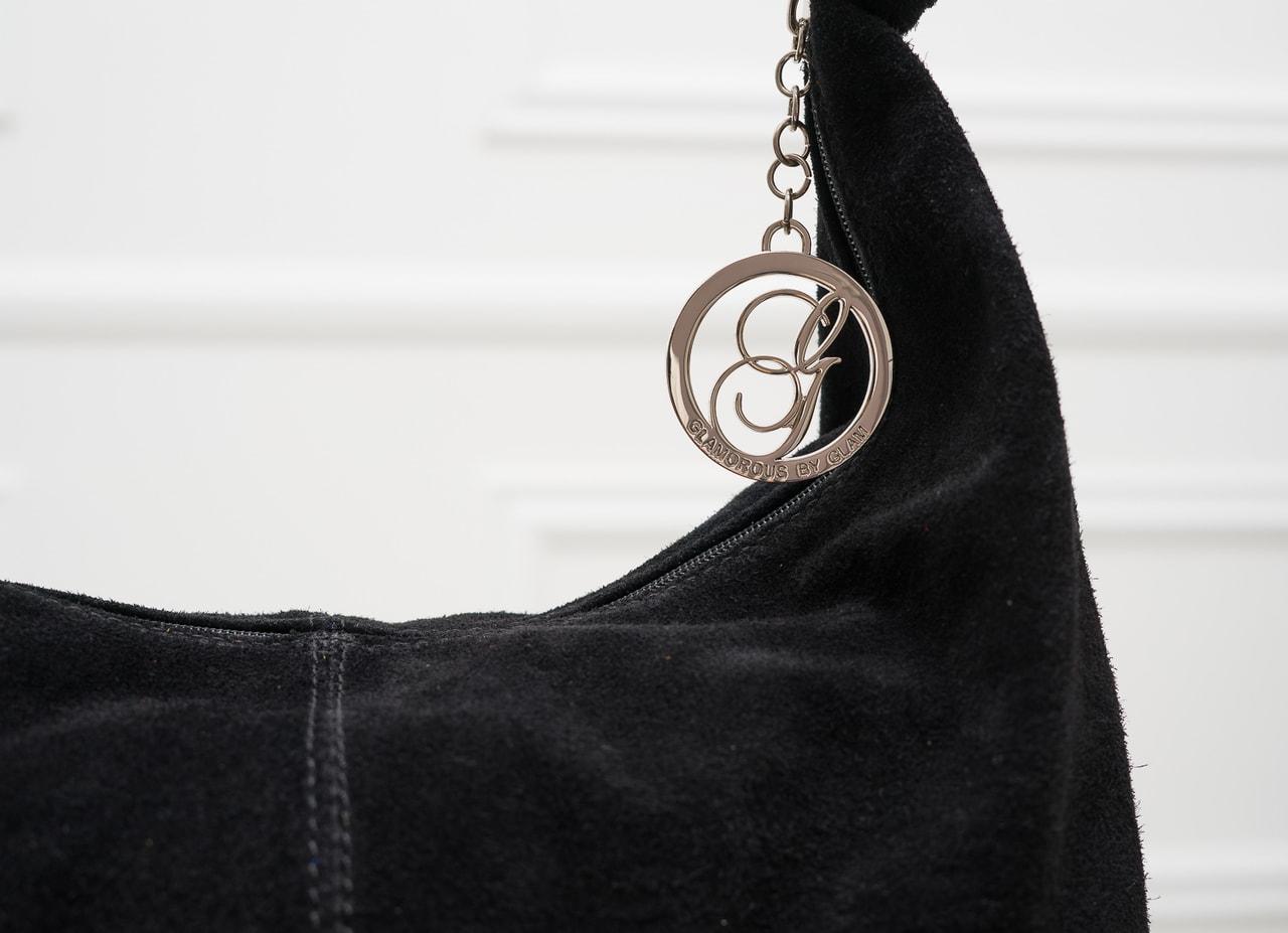 bd5dc31dad Glamadise.sk - Kožená kabelka cez rameno s kruzky semiš - čierna ...