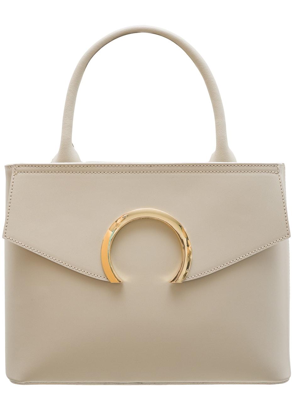 c60938c68f8b Glamadise.sk - Dámska kožená kabelka malá so zlatým kruhom - béžová ...