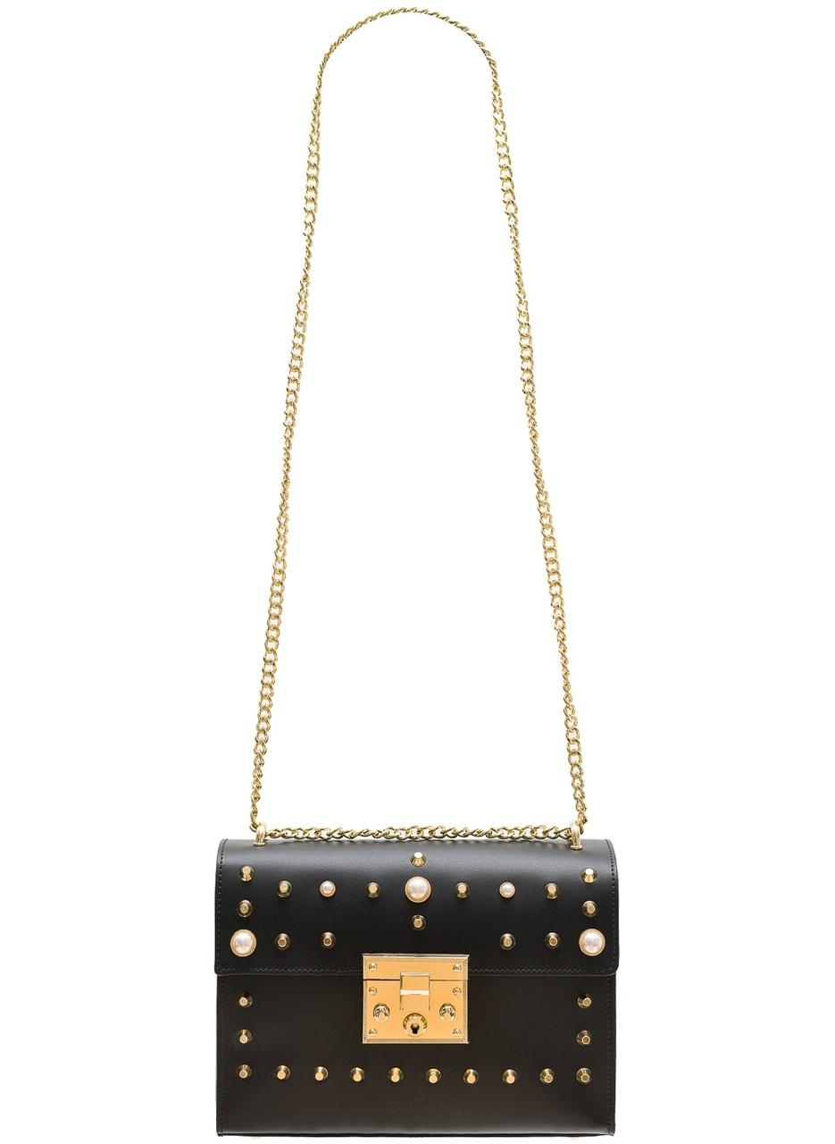 e5e34cfbc6 Dámská kožená crossbody kabelky s perličkami - černá - Glamorous by ...