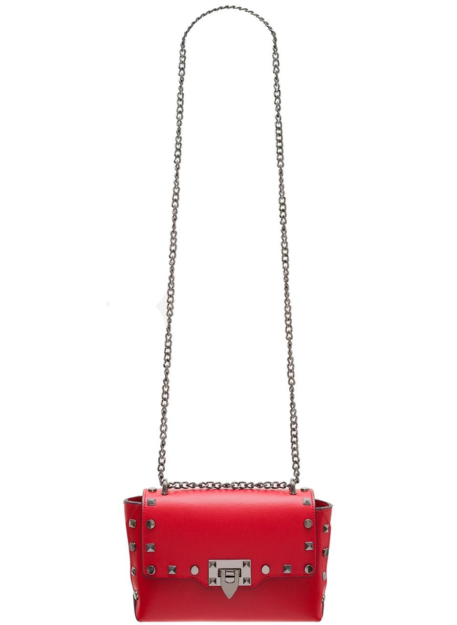 459868baa5 Glamadise.sk - Dámska kožená crossbody kabelky s cvokmi - červená ...
