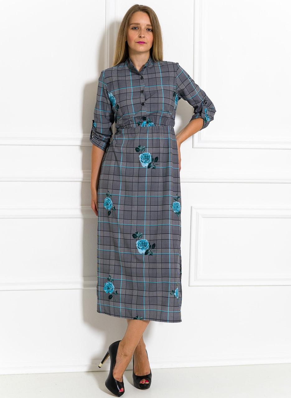 dfca660cb109 Glamadise.sk - Letné košeľové šaty s potlačou zo saténu modré ...