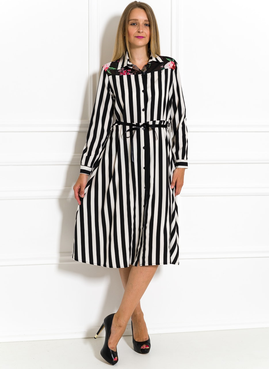 bfc4dfdde6fe Saténové košilové šaty černo-bílé - Glamorous by Glam - Letní šaty ...
