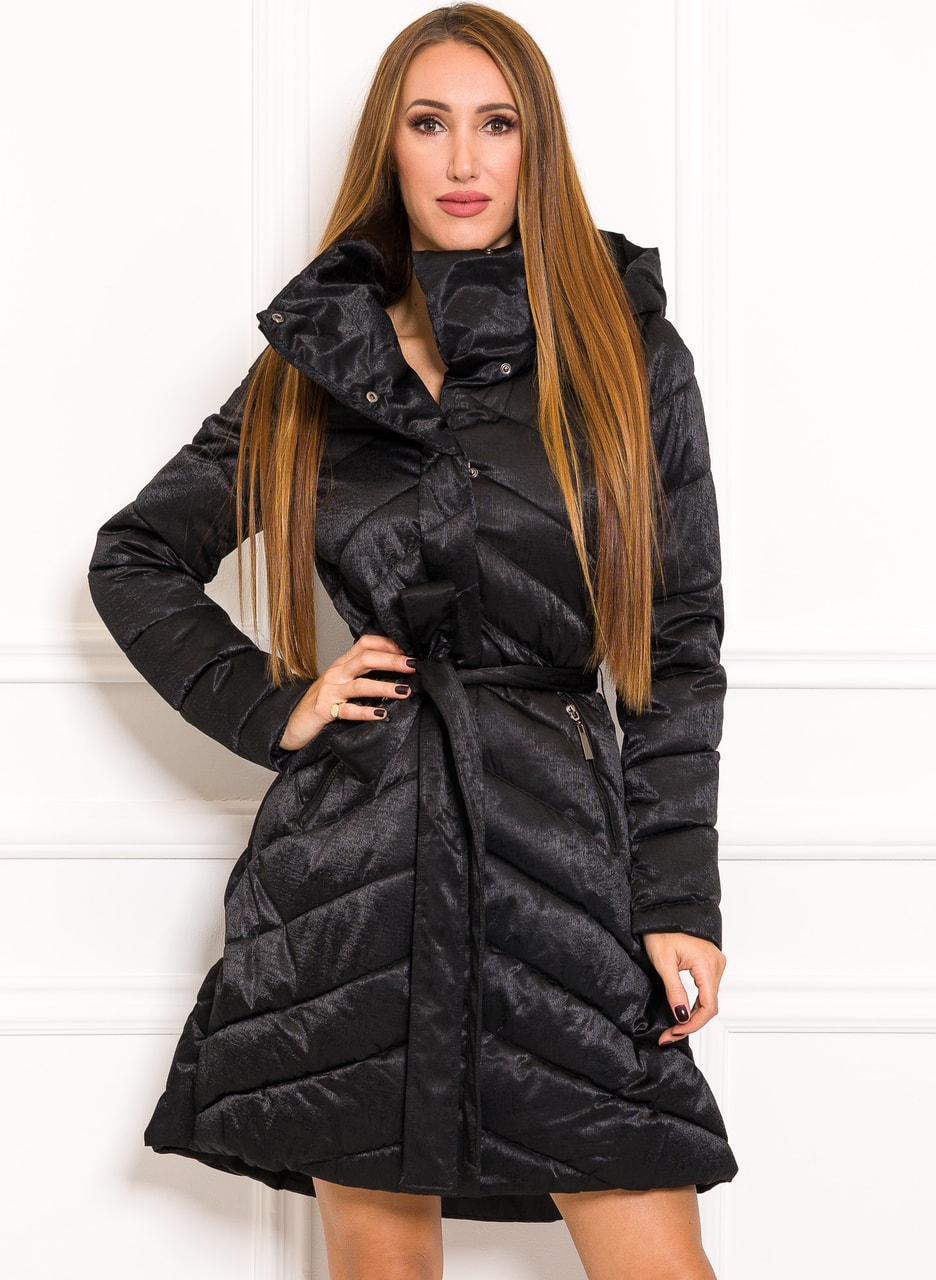 b305410d7 Glamadise.sk - Zimná exkluzívny bunda do zvonu na viazanie čierna ...