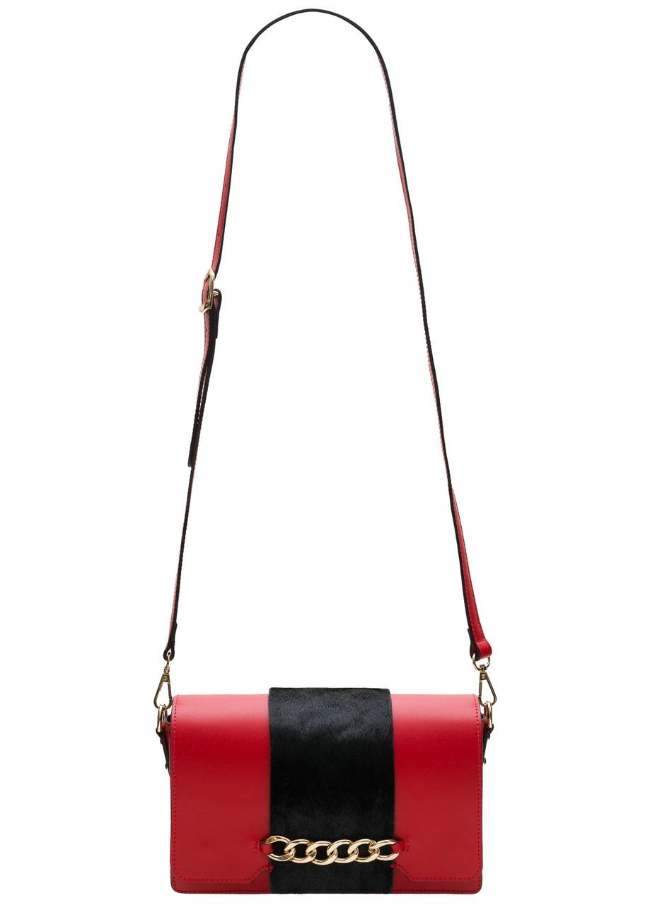3d6733a3fe Dámská crossbody kabelka červená s černou srstí - Glamorous by GLAM ...