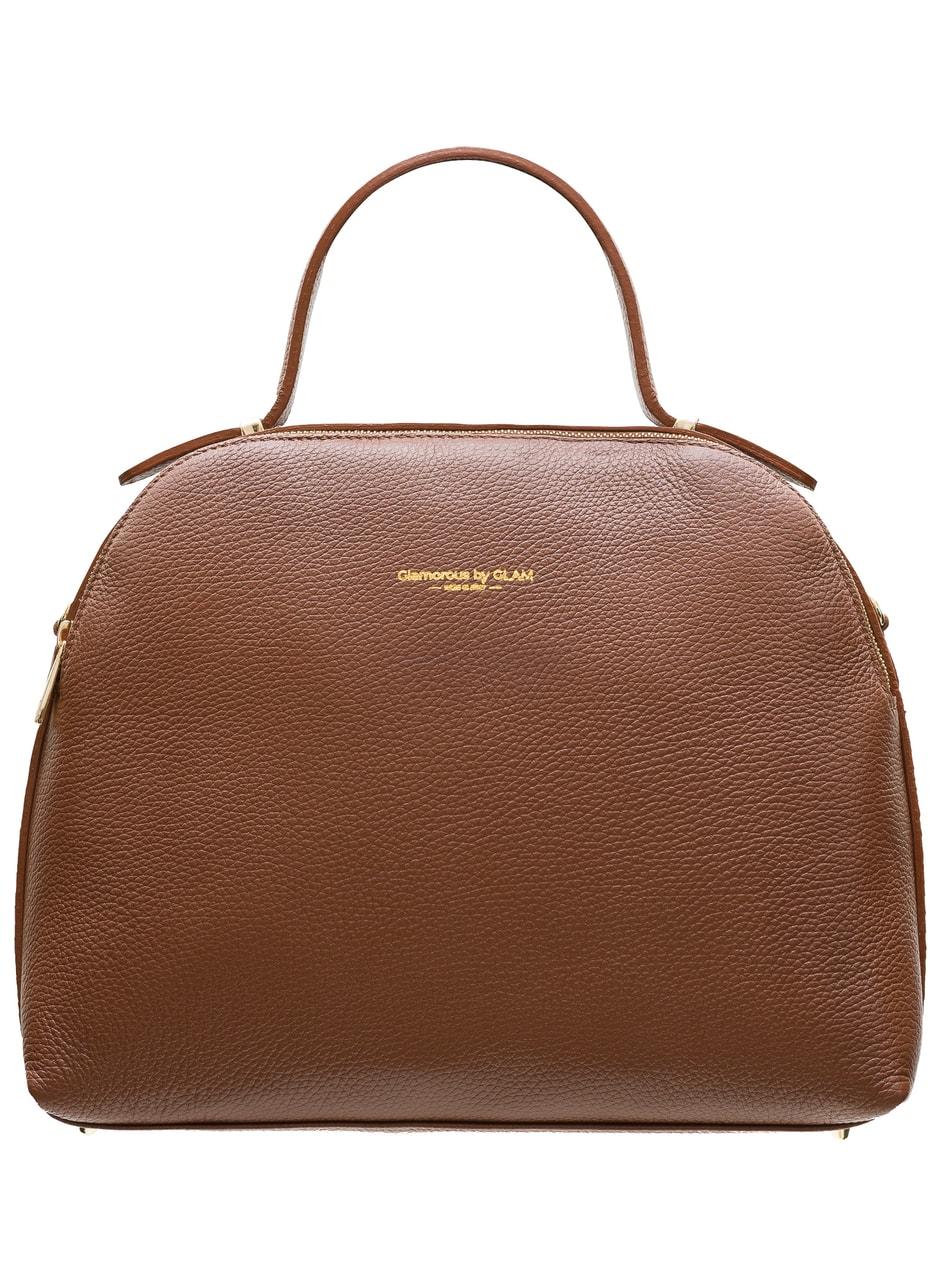 d8ac253509dd Glamadise.sk - Dámska kožená kabelka 2 zipsy - hnedá - Glamorous by ...