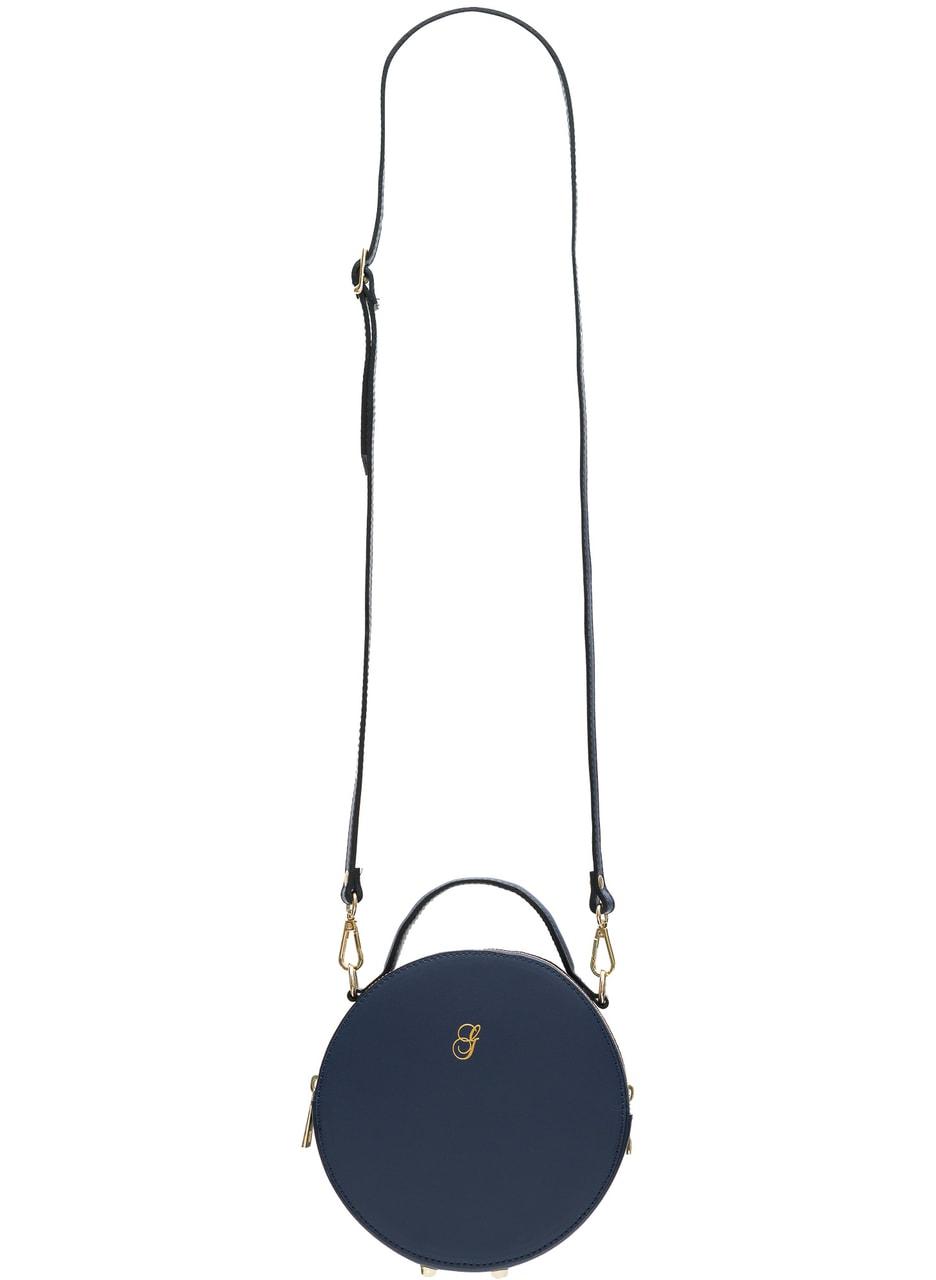 b7f8e80f95 Dámská kožená crossbody kabelka kulatý matná - tmavě modrá ...