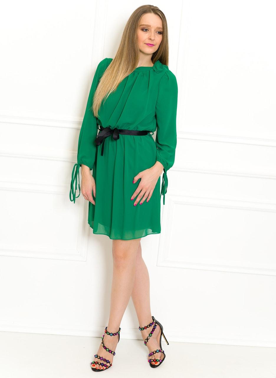 3626447be768 Glamadise.sk - Šifonové letní šaty s rukávem a páskem zelené ...