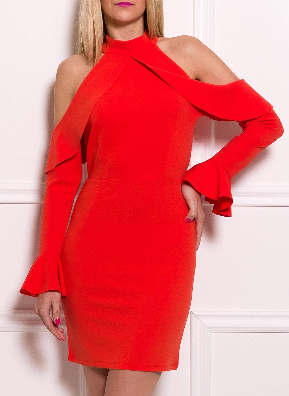 93d5a6b040b8 Dámské luxusní šaty s průstřihy na ramenou - oranžová - Due Linee ...