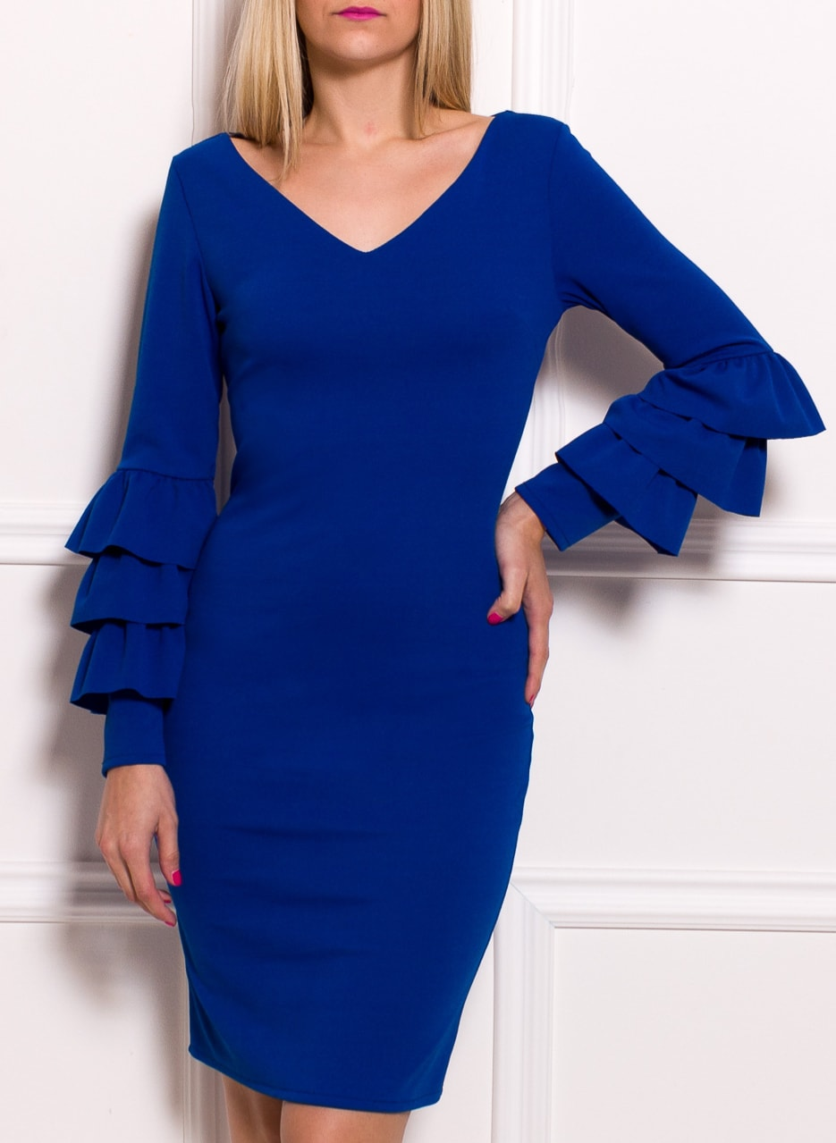 ef70d16df855 Glamadise.sk - Dámske luxusné šaty s dlhým rukávom a volány ...