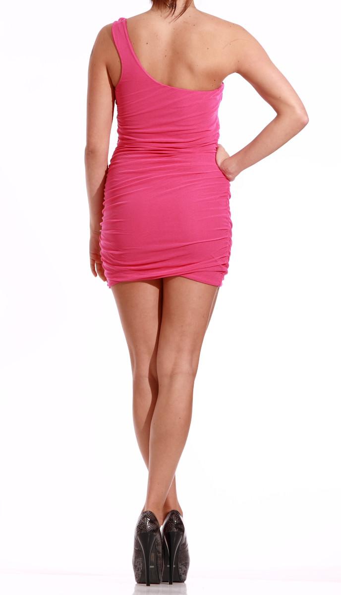 07fdb15b9c78 50% GbyG Mini šaty na jedno rameno růžové - Glamorous by Glam - Šaty ...