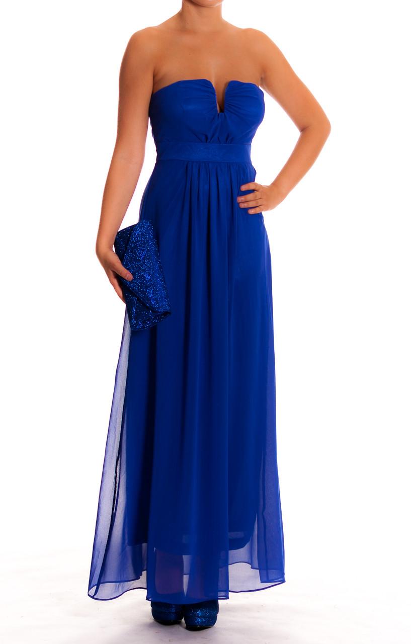 086acc552e9c Glamadise.sk - Dámske dlhé plesové šaty modrej na prsia - Dlhé šaty ...