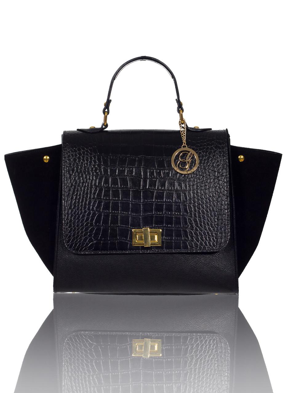 43e1bf1b99 Glamadise.sk - GbyG luxusná kožená kabelka čierna so semišom ...