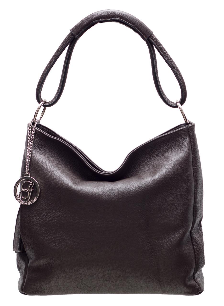 fd1f6a0f81 Glamadise.sk - Dámska kožená kabelka cez plece - tmavo hnedá ...