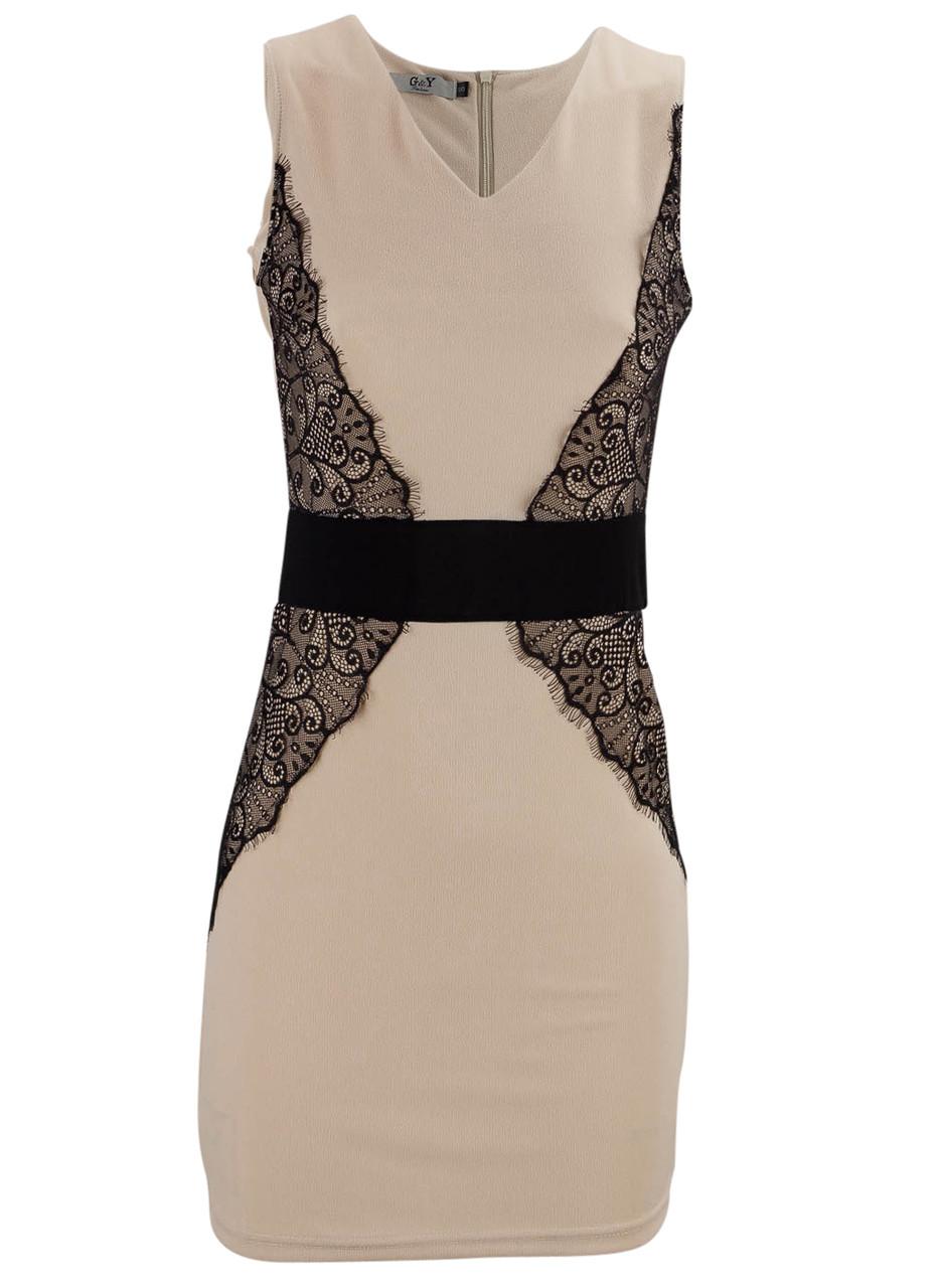 de2181decdfa Glamadise.sk - Béžové šaty s čiernou čipkou - G Y - Šaty - Dámske ...