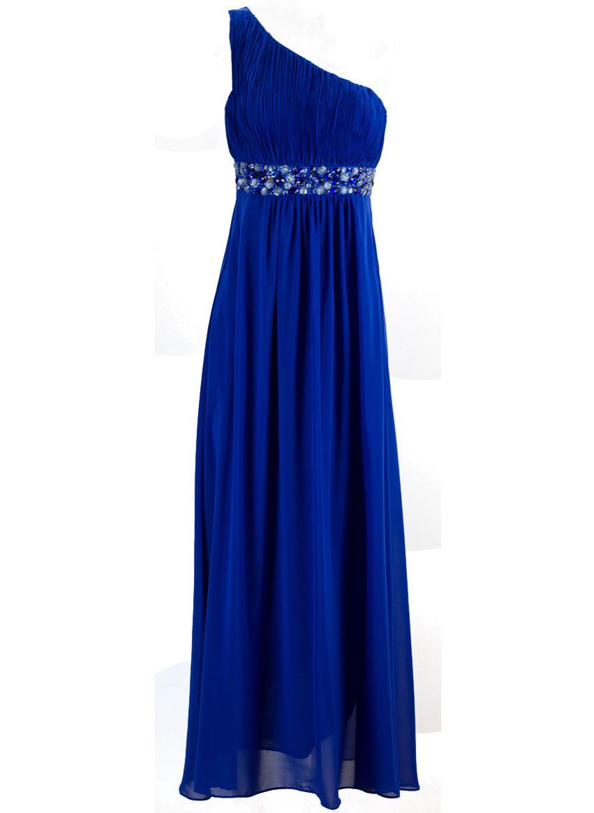 ce8d1c3e1fde Glamadise.sk - Spoločenské šaty cez jedno rameno - modrá - Dlhé šaty ...