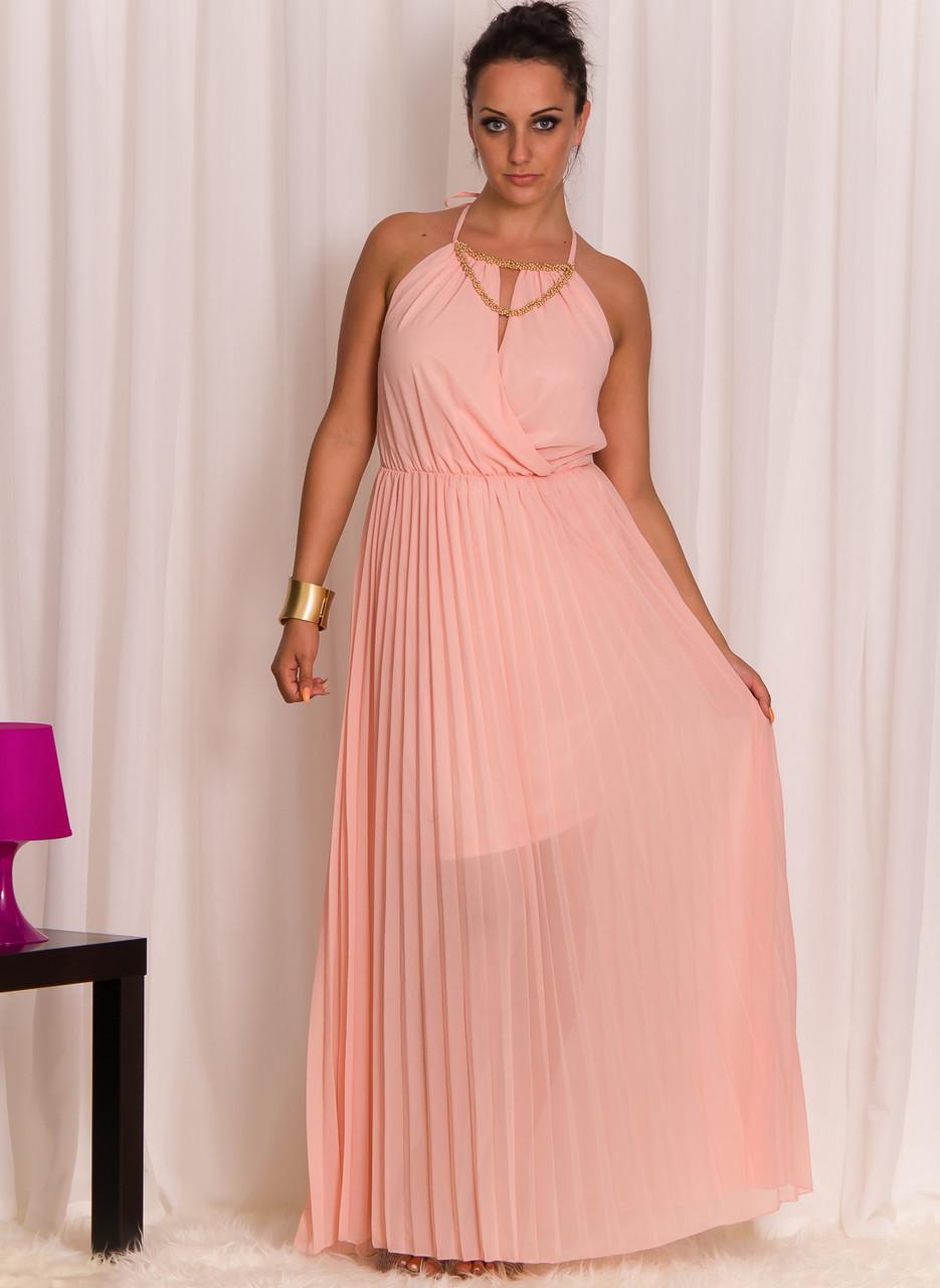 09a880264e Dlouhé šaty se zlatým zdobením lososové - Glamorous by Glam - Dlouhé ...